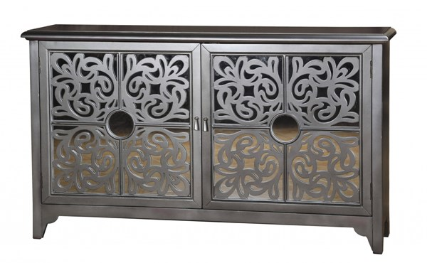 Home Meridian Silver Hardwood Mirrored Overlay Door Credenza RH-675081