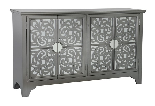 Home Meridian Silver Grey Mirrored Four Door Credenza RH-675081A