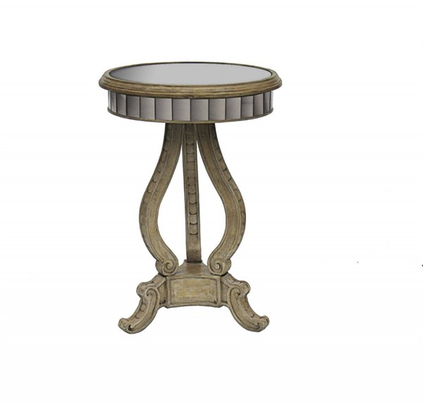 Brown Hardwood Round Antique Mirrored Accent Table RH-675116