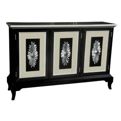 Black Hardwood Adjustable Shelf Behind Framed Door Credenza RH-730001