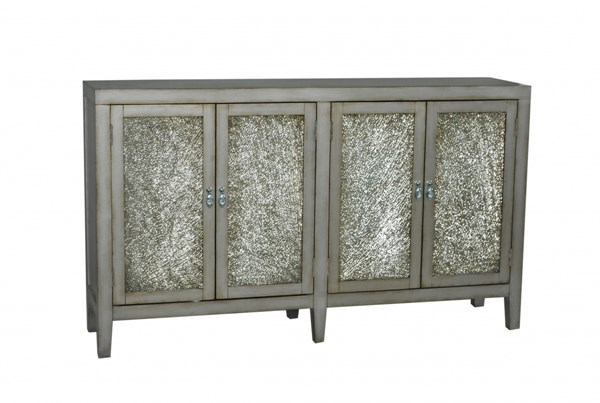 Silver Grey Hardwood Antique Crackle Glass Door Console RH-730065