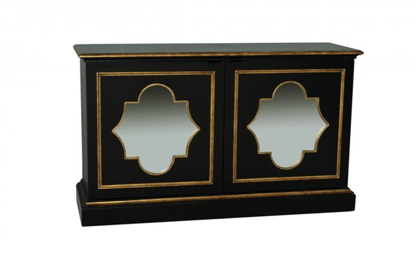 Classic Black Wood Glass Rectangle Console RH-730102