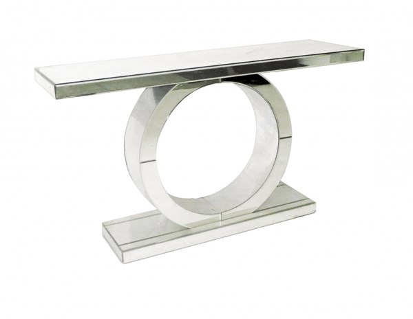 Contemporary Silver Hardwood Mirrored Circle Base Console Table RH-730204