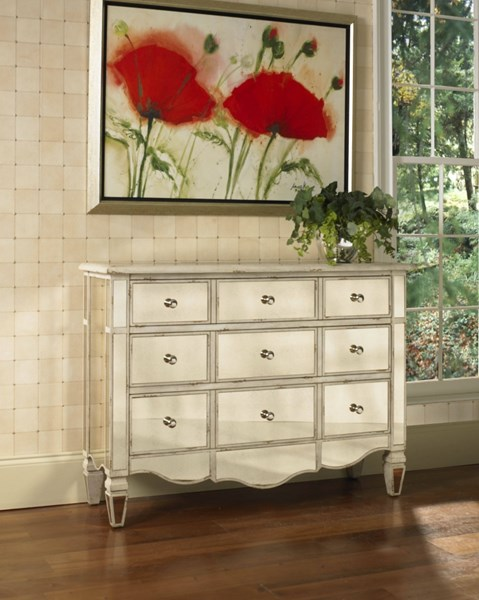 Gold Mirrored Hardwood Drawers Accent Chest RH-739349