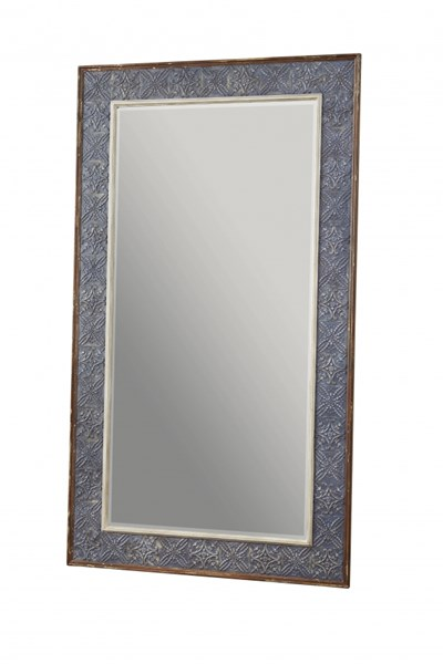 Transitional Charcoal Wood Floor Rectangle Mirror RH-766072