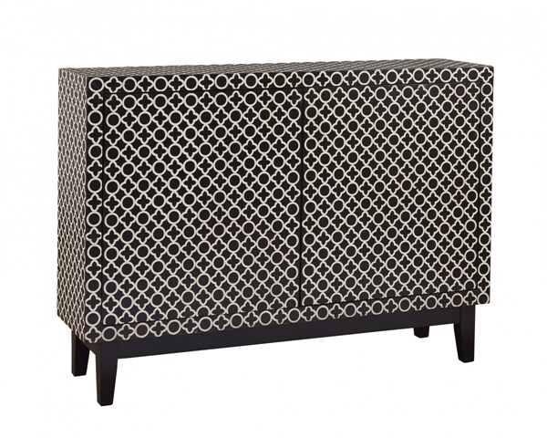 Adams Black And White Hardwood Graphic Patterned Credenza RH-766172