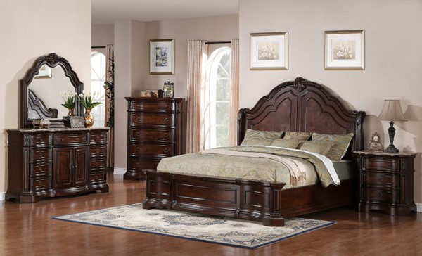 Edington Traditional Brown Hardwood 2pc Bedroom Set W/King Bed RH-8328-BR-S2
