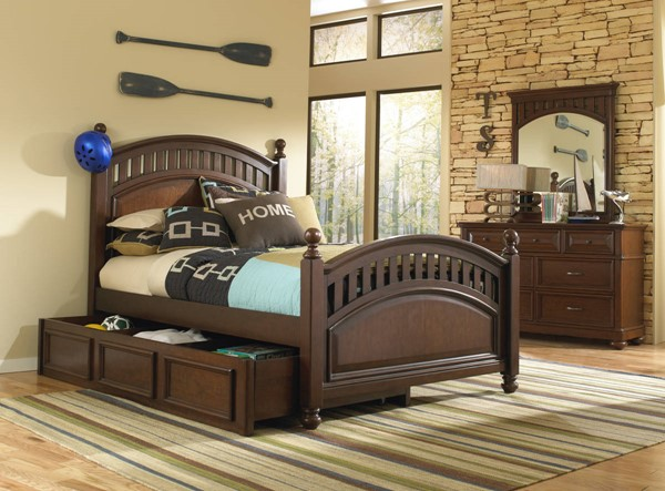 Samuel Lawrence Expedition Brown Twin Poster Bed with Trundle RH-8468-BR-K14