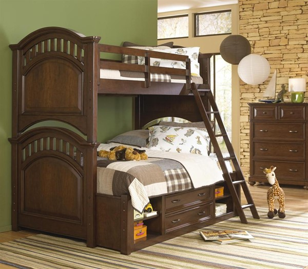 Samuel Lawrence Expedition Brown Manning Twin Full Bunk Bed With Storage Trundle RH-8468-BR-K29
