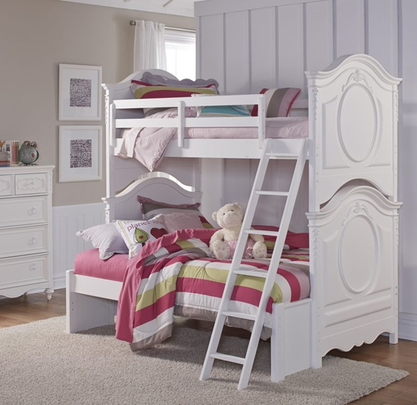 Samuel Lawrence SweetHeart White Bunk Beds With Ladder RH-8470-BNKBED-VAR