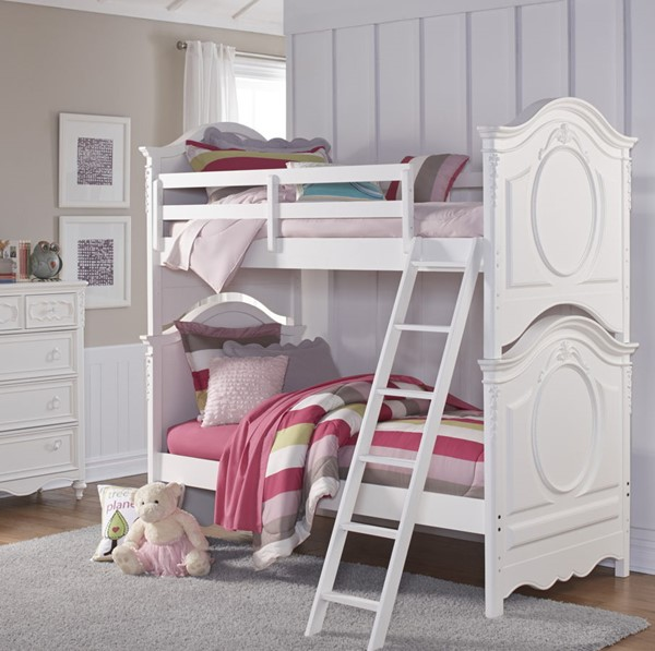 Samuel Lawrence SweetHeart White Twin Over Twin Bunk Bed With Ladder RH-8470-BR-K9