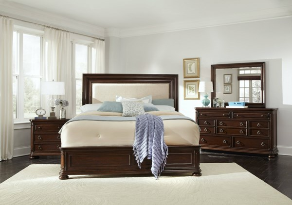 Chandler Traditional Brown Wood 5pc Bedroom Set w/Queen Bed RH-8540-BR-S1