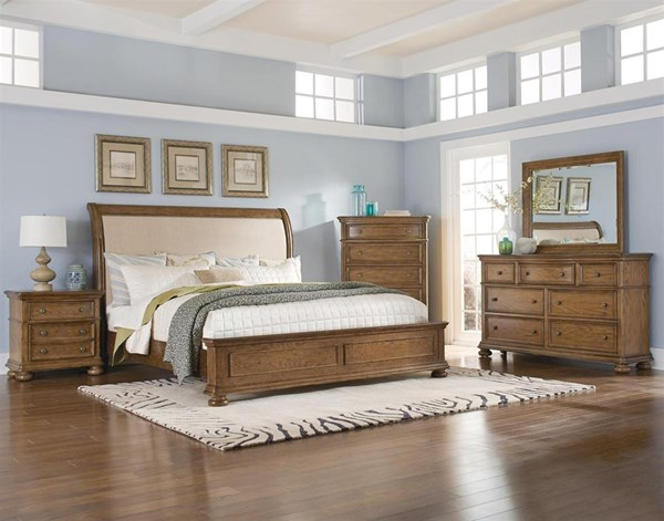 Paxton Brown Hardwood 5pc Bedroom Sets w/Sleigh Bed RH-8674-BR-S