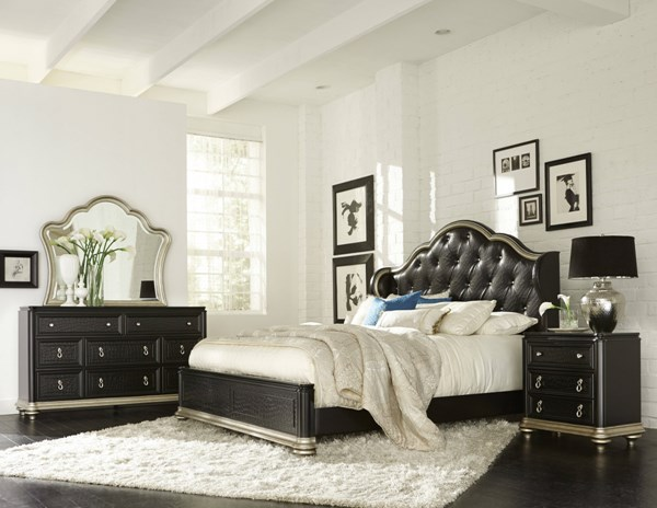Avanti Black Wood Glass Master Bedroom Set RH-8708-BR