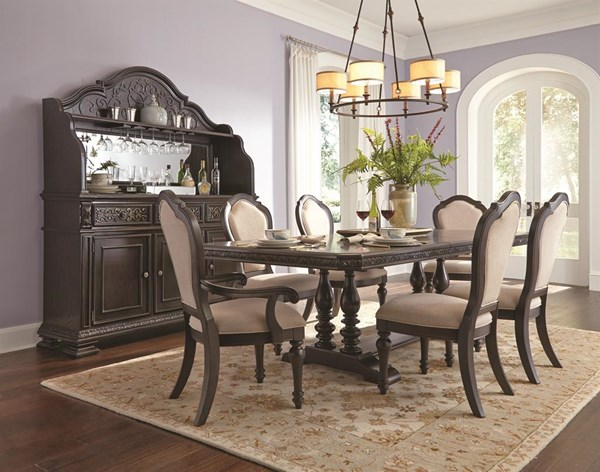 Monarch Traditional Black Wood 7pc Trestle Dining Room Set RH-8794-DR-S