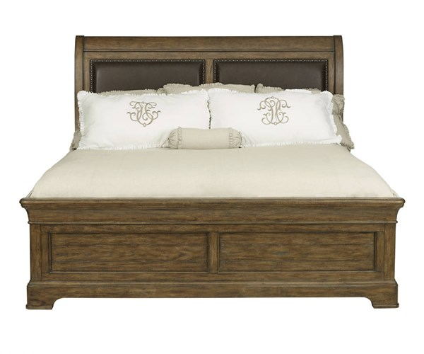 American Attitude Brown Wood Bonded Leather Upholstered Sleigh Beds RH-8854-BED-VAR