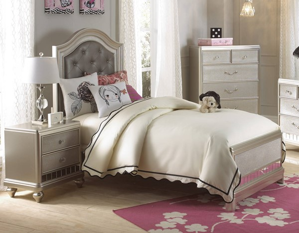Samuel Lawrence Lil Diva Silver 2pc Kids Bedroom Set With Twin Bed The Classy Home