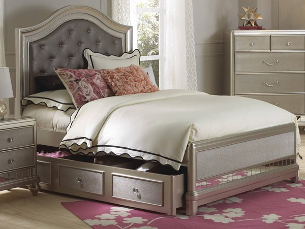 Samuel Lawrence LiL Diva Silver Twin Trundle Bed RH-8874-T-TR-BED