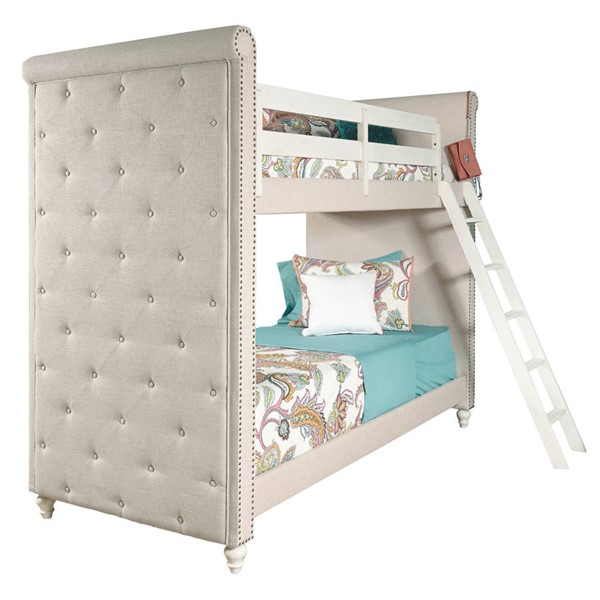 Samuel Lawrence Madison Youth White Wood Twin Twin Bunk Bed with Ladder RH-8890-BR-K17