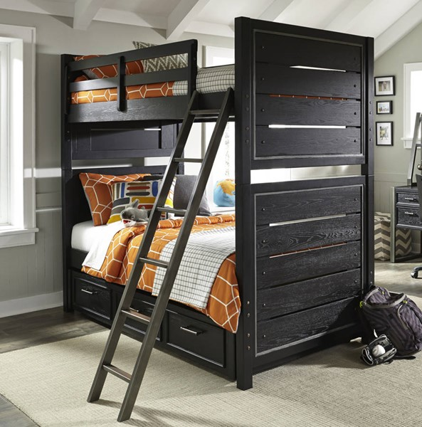 Samuel Lawrence Graphite Black Twin Twin Bunk Bed With Under Storage RH-8942-BR-K19