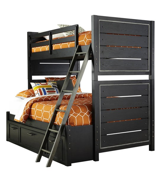Samuel Lawrence Graphite Black Twin Full Bunk Bed With Under Storage RH-8942-BR-K20