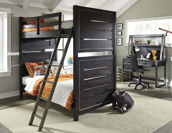 Samuel Lawrence Brooks Graphite Black Twin Over Twin Bunk Bed RH-8942-BR-K3