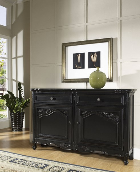Tara Traditional Black Hardwood Painted Back Carved Door Hall Console RH-917006