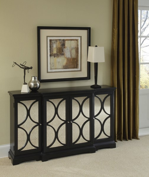 Modern Black Hardwood Diamond Overlay Mirrored Door Accent Chest RH-969152