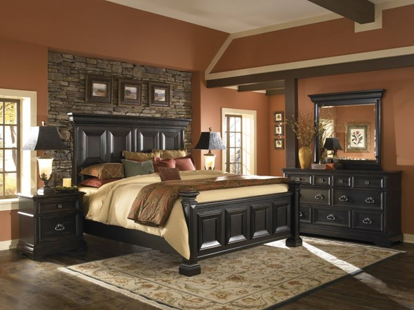 Brookfield Black Hardwood 2pc Bedroom Set W/King Panel Bed RH-993170-BR-SET3