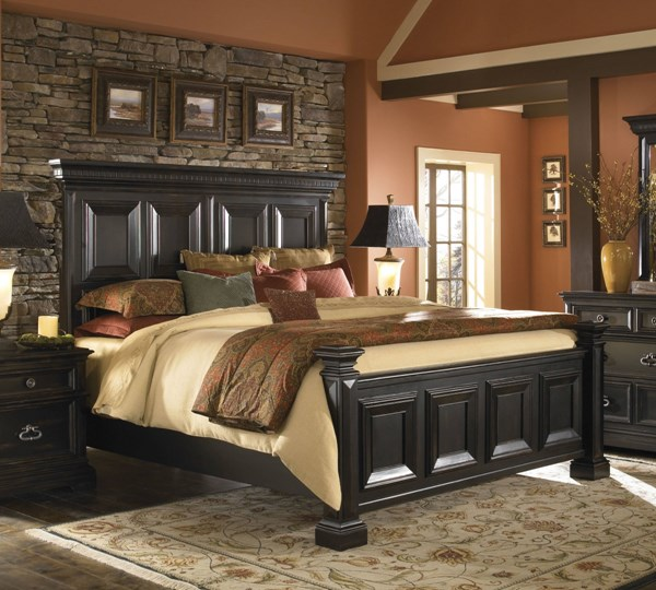 Brookfield Traditional Black Hardwood Panel Beds RH-993170-BEDS