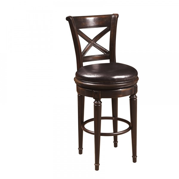 Brookfield Traditional Black Faux Leather Hardwood Bar Stool RH-993501