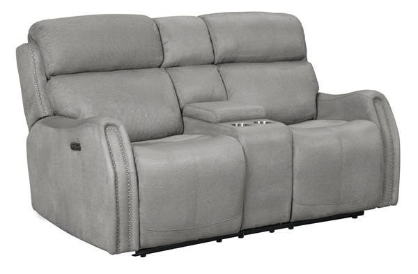 Home Meridian Silver Power Console Loveseat With USB RH-A887U-305-1062
