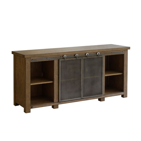 Home Meridian Brown Oak Farmhouse Sliding Door Console RH-D192-103