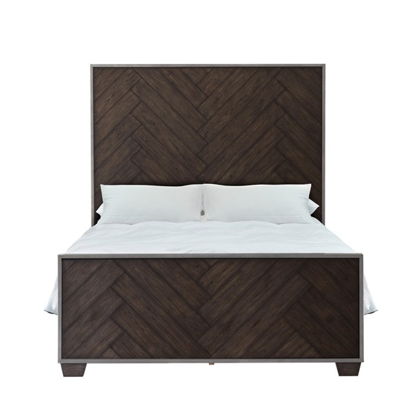 Home Meridian Brown Farmhouse Metal Frame Dark Oak Beds RH-D192-BEDS