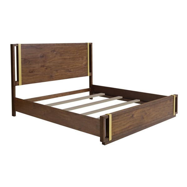 Home Meridian Brown Hardwood Solid Queen Panel Bed RH-D198-BR-K1