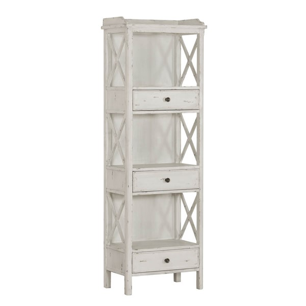 Home Meridian White 3 Drawers Bookcase RH-D303-305