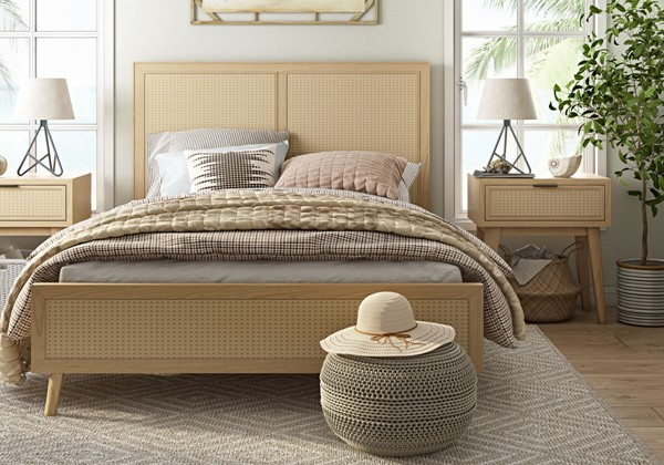 Home Meridian Cane Brown 2pc Bedroom Set With Queen Bed RH-DS-D314-QB-S2