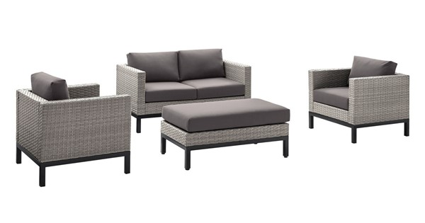 Home Meridian Gray Fabric Modern 4pc Outdoor Seating Set RH-D323-OUT-K2