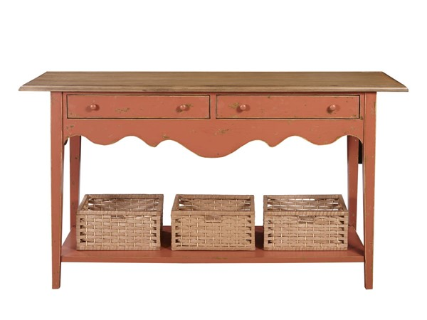 Home Meridian Brown MDF Solid Wood Clay and Oak Console RH-D325-102