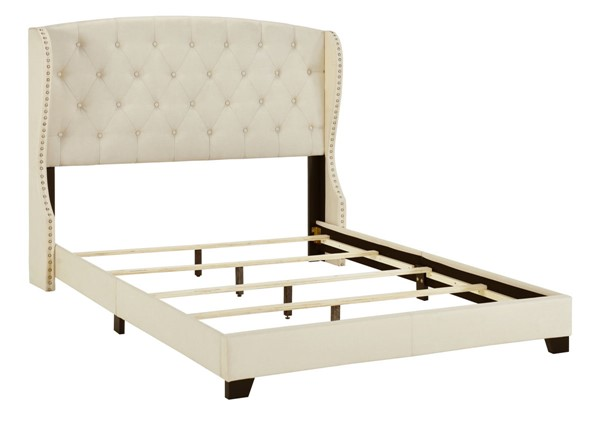 Home Meridian Beige King Tufted Wing Bed RH-D398-291-1