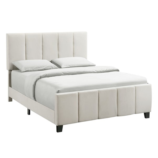 Home Meridian Ivory King Upholstered Channel Bed RH-D400-291-1