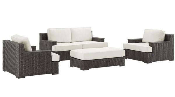 Home Meridian Brown Fabric Modern Outdoor Set With Ottoman RH-D474-OUT-K1