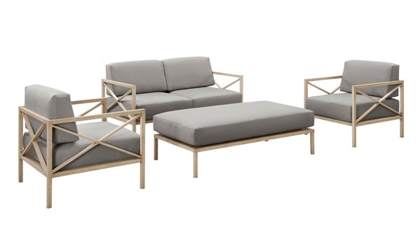 Home Meridian Gray Fabric Metal 4pc Outdoor Seating Set RH-D475-OUT-K1