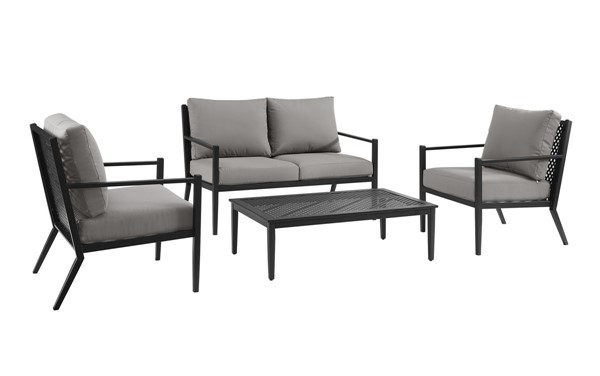 Home Meridian Gray Fabric Metal Base 4pc Outdoor Set RH-D476-OUT-K1