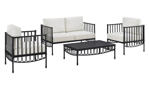 Home Meridian Black Fabric 4pc Outdoor Seating Set RH-D477-OUT-K1