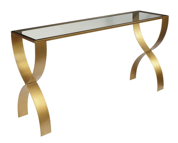 Home Meridian Bella Gold Console Table with Glass Top RH-D506-100