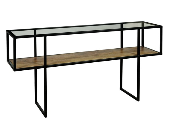 Home Meridian Black Iron Console Table with Glass Top RH-D506-101