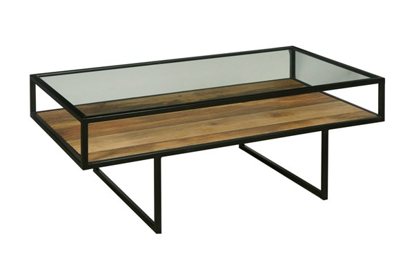 Home Meridian Black Iron Coffee Table with Glass Top RH-D506-215