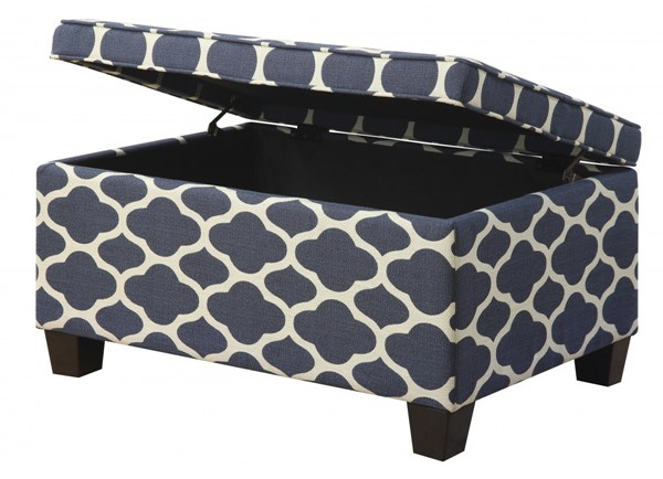 Jessa Contemporary Blue Wood Fabric Upholstered Storage Ottoman RH-DS-2117-683-147