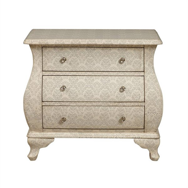 Traditional Cream Gray Damask Wood Hardwood Accent Bombay Chest RH-DS-2168850-WH